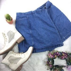 VTG 80s 90s Grunge Denim Jean Blue Skirt Skort 12